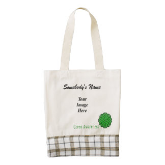 Green Flower Ribbon Template Zazzle HEART Tote Bag