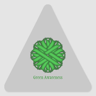 Green Flower Ribbon Triangle Sticker