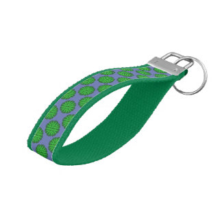 Green Flower Ribbon Wrist Keychain