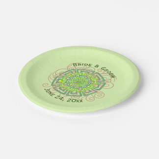 Green Flower Rustic Abstract Floral Wedding 7 Inch Paper Plate