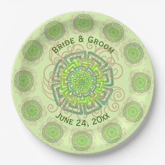 Green Flower Rustic Abstract Floral Wedding 9 Inch Paper Plate