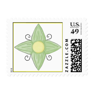 GREEN FLOWER STAMPS