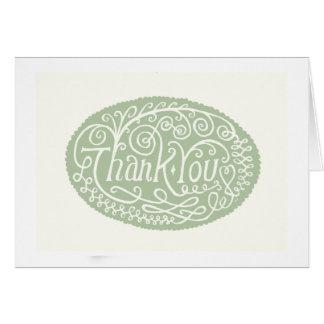 Green Flower Thank You Card
