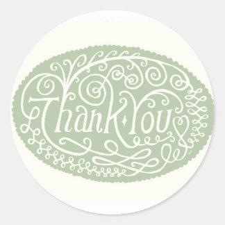 Green Flower Thank You Classic Round Sticker