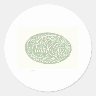 Green Flower Thank You Round Sticker