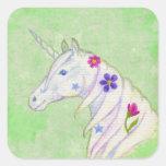 Green Flower Unicorn sticker
