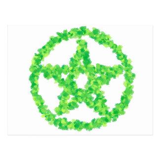 Green Flowered Pentacle Postcard