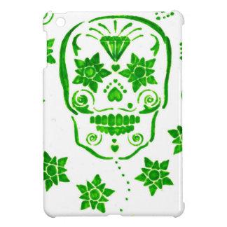 Green Flowered Skull Case For The iPad Mini