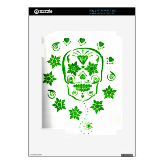 Green Flowered Skull Decal For The iPad 2