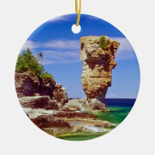 Green Flowerpot Island, Tobermory, Ontario flowers Double-Sided Ceramic Round Christmas Ornament