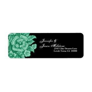 GREEN Flowers Black Background Address Label