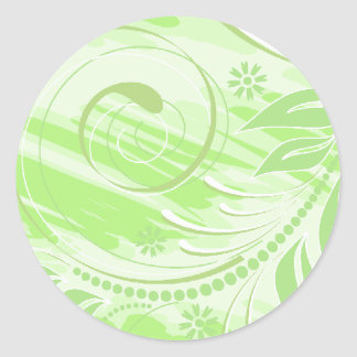 green flowers classic round sticker