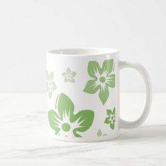 green flowers coffee mug