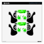 Green Flowers In A Skull Decal For PS3 Controller