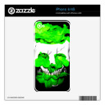 Green Flowers In A Skull Decals For The iPhone 4