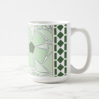 Green flowers in mosaic with classic tiles mug