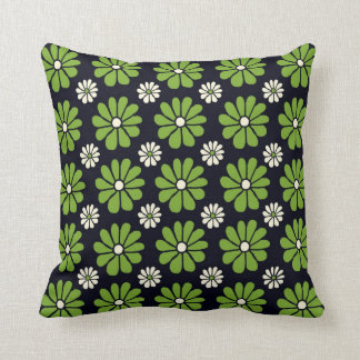 Green Flowers on Black American MoJo Pillows