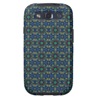 Green Flowers on Blue Background Beads Pattern Galaxy S3 Covers