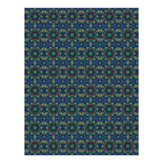 Green Flowers on Blue Background. Beads Pattern Flyers