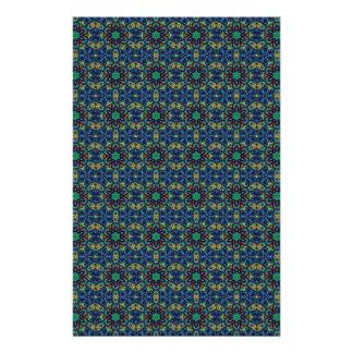 Green Flowers on Blue Background. Beads Pattern Flyer Design