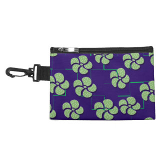 GREEN FLOWERS ON BLUE Clutch/Accessory Bag