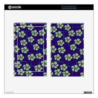 GREEN FLOWERS ON BLUE eReader Skin Kindle Fire Skin