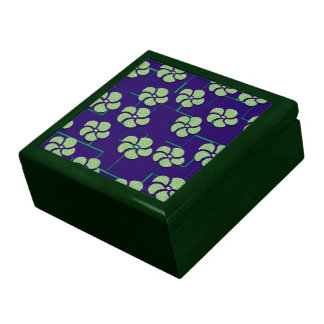 GREEN FLOWERS ON BLUE Keepsake Box