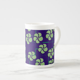 GREEN FLOWERS ON BLUE Specialty Mug