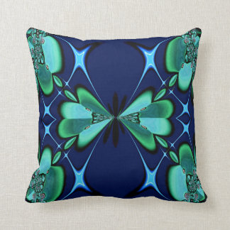 Green Flowers on Navy American MoJo Pillows
