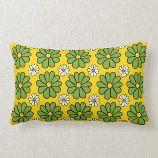 Green Flowers on Yellow American MoJo Pillows