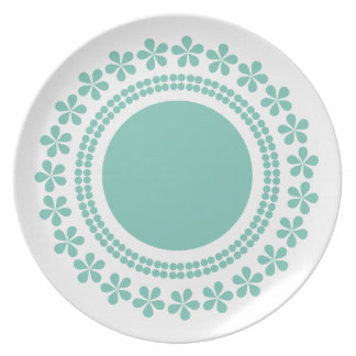Green flowers plate
