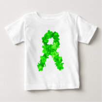 Green Flowers Ribbon Baby T-Shirt