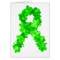 Green Flowers Ribbon Card
