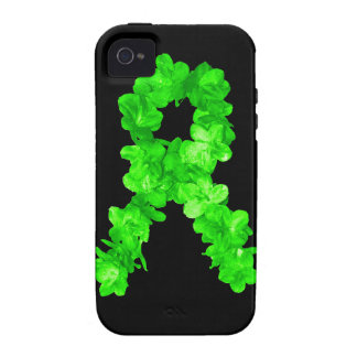 Green Flowers Ribbon iPhone 4 Case