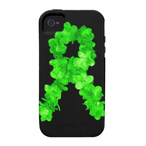 Green Flowers Ribbon iPhone 4 Cover