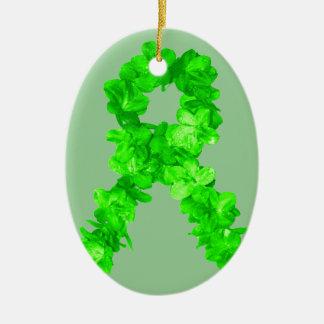 Green Flowers Ribbon Ceramic Ornament