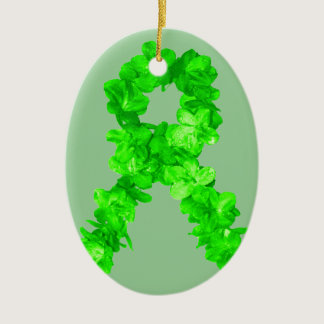 Green Flowers Ribbon Ceramic Ornament