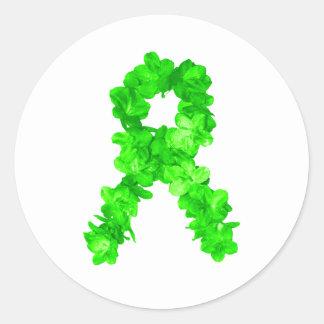Green Flowers Ribbon Classic Round Sticker