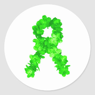 Green Flowers Ribbon Classic Round Sticker