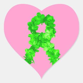 Green Flowers Ribbon Heart Sticker