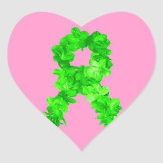 Green Flowers Ribbon Heart Sticker