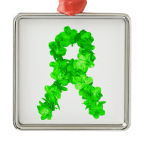 Green Flowers Ribbon Metal Ornament