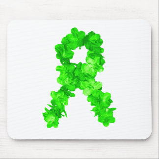 Green Flowers Ribbon Mouse Pad