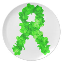 Green Flowers Ribbon Plate