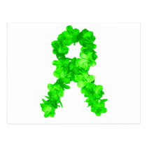 Green Flowers Ribbon Postcard