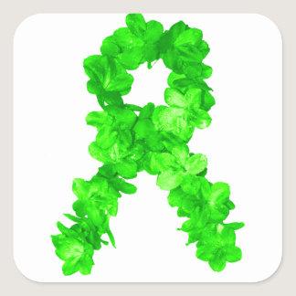 Green Flowers Ribbon Square Sticker