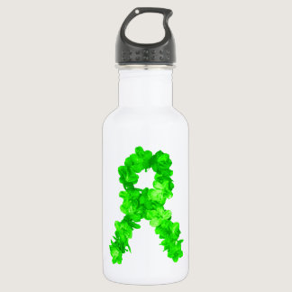 Green Flowers Ribbon Stainless Steel Water Bottle