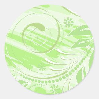 green flowers round sticker