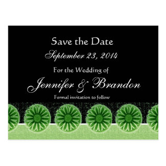 Green Flowers Save The Date Wedding Postcard