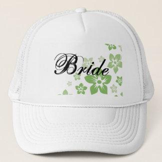green flowers trucker hat